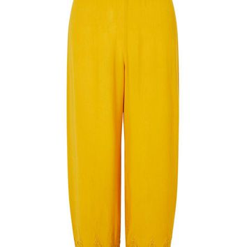 Yellow Crochet Cropped Trousers - Trousers - Clothing