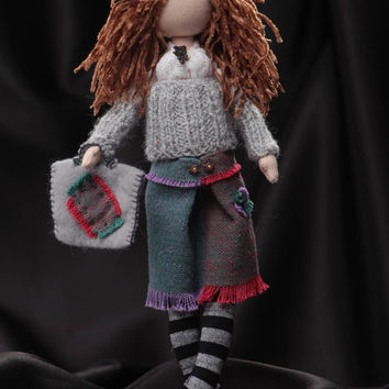 Handmade designer interior soft doll sewn of cotton Lady of Fashion with stand