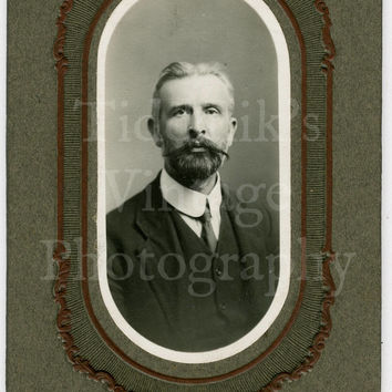 "Edwardian Young Handsome Bearded Man Oblong Cabinet Card (Approx. 3"" x 6"") Photo by USA Studios Chatham - (Unique Format)"