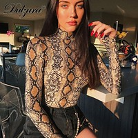 Dulzura snake print long sheeve high neck bodysuit 2018 autumn winter women sexy stretch snakeskin body suit