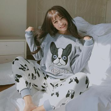 New Arrival Autumn Winter Women Pajama Sets Coral Fleece Nighty Sleepwear Cute Cartoon Dog Pattern Pajamas Nightwear 3/pcs Set