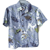 Kids Hawaiian Shirt, Blue Fish Shirt, Short Sleeve Button Down Boys Shirt, Kahala Vintage Kids Clothes, Boys Casual Shirt 6 7 Unisex Kids