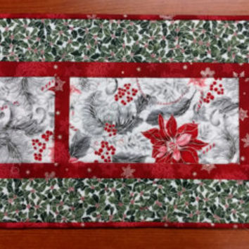 Christmas Quilted Table Runner, Red, Black and Gray with Silver Metallic, Wedding Gift, Elegant Quilt Decor, Hostess Gift, Quiltsy Handmade