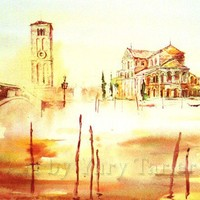 Venice Orange Morning Print of Original Artwork by by yury4465