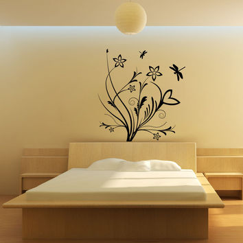 Vinyl Wall Decal Sticker Flowers with Dragonflies #1080