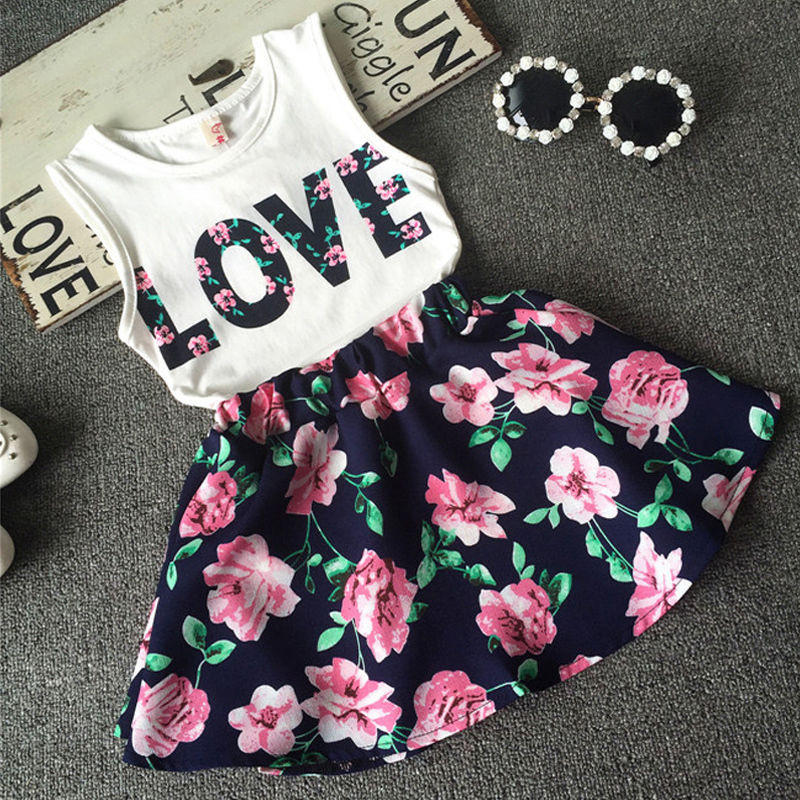63928bd5d93f5 2016 New Fashion Cute Baby Girls Clothes Set Summer Sleeveless T-Shirt Top  and Floral Skirt 2PCS Little Girls Outfit Set