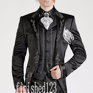 Classic Style Black Embroidery Groom Tuxedos Groomsmen Mens Wedding Suits Prom Bridegroom (Jacket+Pants+Vest) NO:701