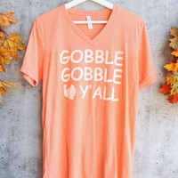 distracted - gobble gobble y'all unisex vneck thanksgiving graphic tee - orange triblend