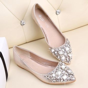 Flats Shoes Women Ballet Princess Shoes Casual Crystal Boat Shoes Rhinestone Women Flats Fashion PLUS Size 35-40 2018 New Gift