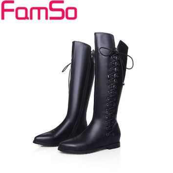 New Arrival Genuine Leather Knee High Zip-Up Boots