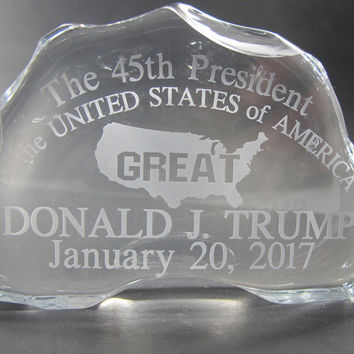 President Trump 45th glass paper weight / plaque inauguration . Made in USA