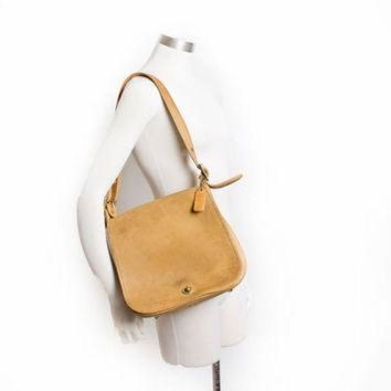 Vintage Coach Purse - 80s Beige / Tan Leather Coach Adjustable Cross Body Satchel Bag - Beauty Ticks