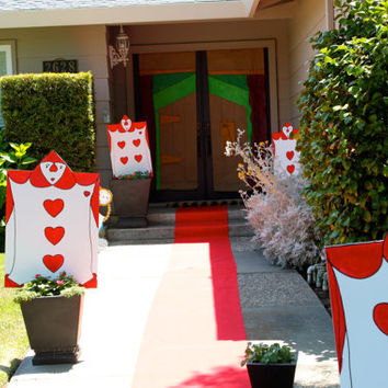 """Set of FOUR 20"""" x 30"""" (2.5 feet) Alice in Wonderland Playing Card Guards - Party Decor - Party Prop - Yard Display"""