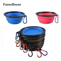 FameBeaut New Foldable Silicone Dog Bowl Candy Color Outdoor Travel Portable Collapsible Puppy Feeding Dishes Water Bowl On Sale