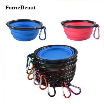 FameBeaut Foldable Bowls For Dogs Pet Feeder Candy Color Outdoor Travel Portable Collapsible Silicone Dishes Water Bowl