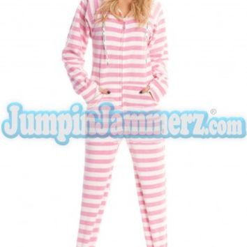8cdcf8ea3 Pink Cotton Stripes Hooded Adult Pajamas from JumpinJammerz