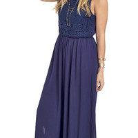 Into The Blue Crochet Accent Maxi Dress