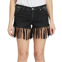 Women's Vintage Levi's Black Leather Suede Fringe Denim Short Trendy