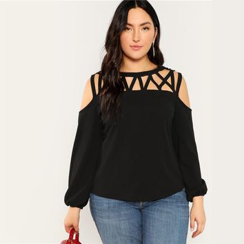 Black Sexy Cut Out Cold Shoulder Lantern Sleeve Women Plus Size Blouse Casual Solid Top Blouses 3 Colors