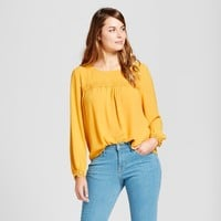 Women's Lace Detail Blouse - A New Day™ Gold