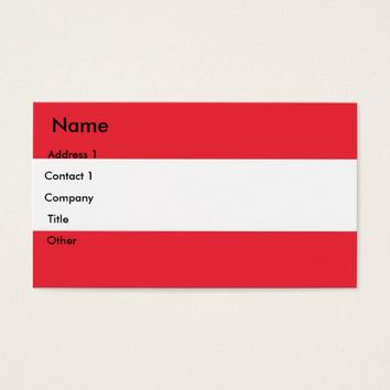 Business Card with Flag of Austria