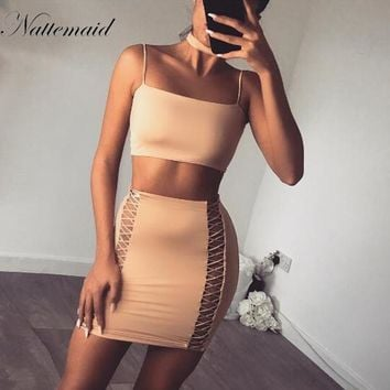 Spaghetti Strap Sexy Dress Women Sexy Strapless out Lace Up Club Party Dresses