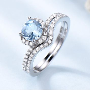 1ct Genuine Natural Sky Blue Topaz 925 Sterling Silver Double Ring Gemstone Engagement Ring For Women Valentine's Day Gift