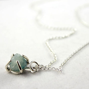 Rough Aquamarine Necklace Sterling Silver - Irregular Shape Raw Aquamarine Stone - March Birthstone
