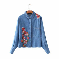 Women floral embroidery oversized denim shirts long sleeve turn down collar loose blouse female casual brand tops blusa LT1437