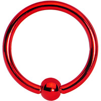 "16 Gauge Red Titanium Captive Ring 3/8"" 3mm 