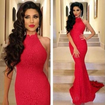 Lace Red Evening Dresses High Neck Mermaid Prom Dresses Long Plain Formal Gowns Court Train Special Occasion Formal Gowns EZ04
