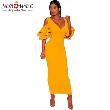 SEBOWEL Sexy Ruffle Off Shoulder Bodycon Dress Women Long Maxi Yellow Faux Wrap Party Dress Female V Neck Club Pencil Dress