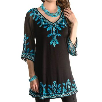 Vintage Collection Joy Black & Turquoise Embroidered Tunic