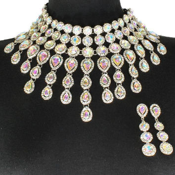 "12"" crystal choker collar bib necklace 2.70"" earrings bridal"