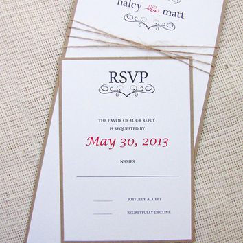 Rustic Vintage Twine Wedding Invitation Suite ,