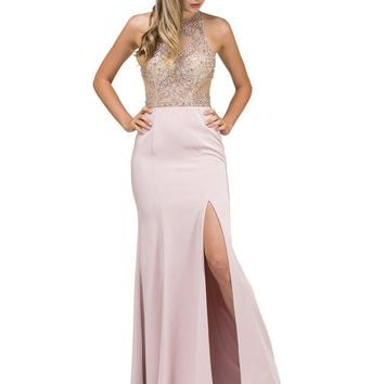 Fitted Prom Dress with Slits   DQ9974