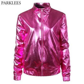 Trendy Rose Red Fashion Metallic Bomber Jacket 2018 Shiny Nightclub Womens Jackets and Coats Slim Fit Zipper Baseball Varsity Jacket AT_94_13