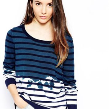 Shae Sweater in Dip Dye Stripe - Navy dipped stripe