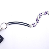 ID Badge Necklace – Purple Freshwater Pearl Leather Fashion Lanyard – Name Tag Holder - Corporate Gift