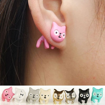 1pc Fashion Women Lovely Cute Cat Ear Stud Men Piercing Earring Earring Alloy Fine Jewelry = 1929556676