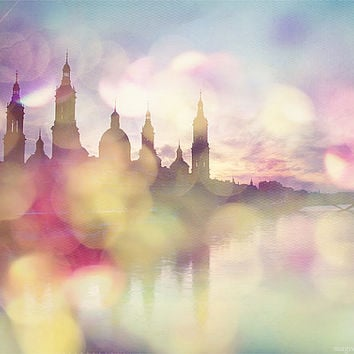 wanderlust photography for beautiful home decor, travel photo,Saragossa landscape, Spain print, colorful dreamland