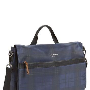 Men's Ted Baker London 'Kresent' Plaid Messenger Bag