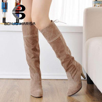 Winter Shoes High Heels Knee High Boots  Round Toe Solid Fashion Shoes For Ladies