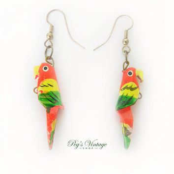 Vintage Wood Parrot Earrings / Hand Painted Tropical Bird Earrings