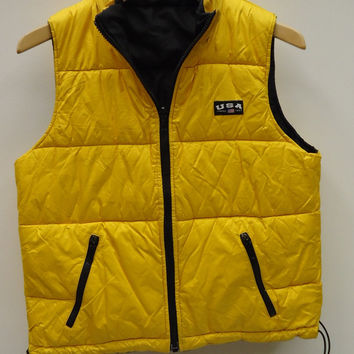 Limited America Puffer Vest Polyester Unisex Adult M Yellow Solid XA785 -- New No Tags