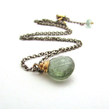 Moss aquamarine necklace, oxidized silver and gold mixed metal jewelry,  March birthstone aquamarine pendant, blue green aquamarine jewelry