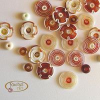 Glass  Beads Set, Lampwork Flower Glass Beads, Handmade Lampwork Glass Beads Disc set  (26)