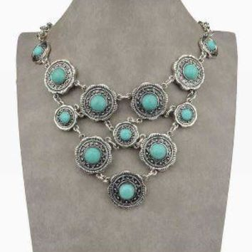 Vintage Tibetan Silver Choker Collar with Faux Turquoise Rings