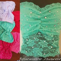 decorated bling rave tube tops- rhinestone rave crop tops- cute simple rave shirts