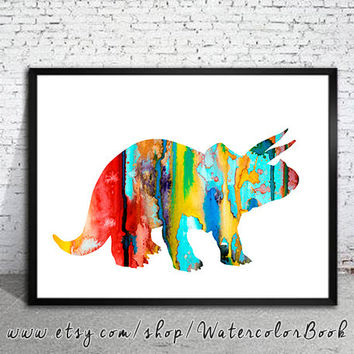 Triceratops 2 Dinosaur Watercolor Print, watercolor painting, watercolor art,  home decor, watercolor animal, Kids Wall Art, Dinosaur art